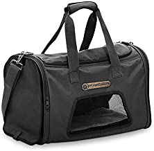 My Poochy And Me Ultimate Portable House Pet Carrier Bag/Purse with Handles, Shading Control, Safety Zippers for Small Dogs, Cats Up to 15 Lbs - Airlines Approved 17 Inch Black