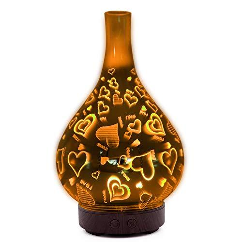 jwj Mejor humidificador 3D Difusor de aroma de cristal en spray para el hogar, dormitorio, aromaterapia, aromaterapia, difusor de nebulización, humidificadores, aceites esenciales (color rojizo)