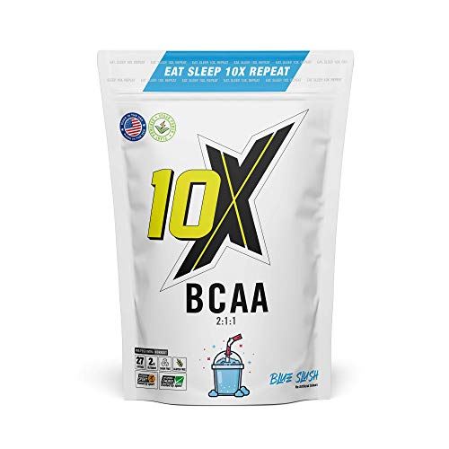 10X Athletic BCAA, Branched Chain Amino Acids, Sugar Free, Vegan, Low Calorie, Informed Sport with Added Glutamine, Blue Slush, 247g