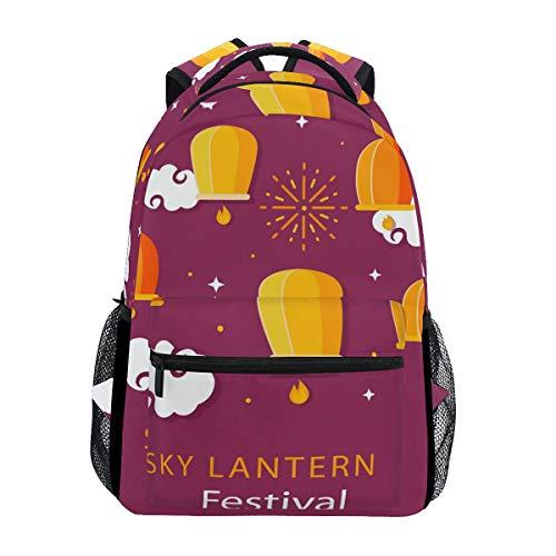 Sky Laternen-Rucksack für Festival, Schule, großes Fassungsvermögen, Segeltuch, lässig, Reisen, Tagesrucksack für Erwachsene, Teenager, Damen, Herren, Kinder