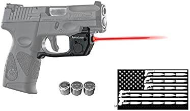Deluxe Red Laser Combo for Taurus PT111 / PT140 Millennium G2 / G2S / G2C / G3 / G3c w/ Touch-Activated ArmaLaser TR23 Green Laser, Guns & Ammo Bumper Sticker & 2 Extra Batteries