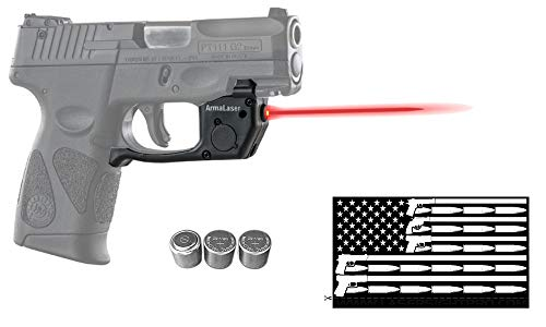 ArmaLaser Deluxe Red Laser Combo for Taurus PT111 / PT140 Millennium G2 / G2S / G2C / G3 / G3c w/Touch-Activated TR23 Green Laser, Guns & Ammo Bumper Sticker & 2 Extra Batteries