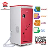 Natraj TALL Aata Chakki Ghar Ghanti Automatic Domestic Flourmill With Inbuilt Vacuum Cleaner Red Matt Finish