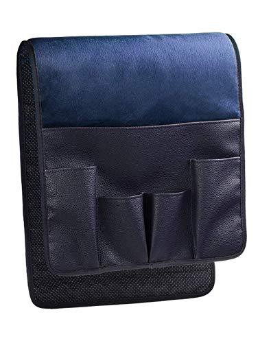 BASELIFE Organizador de reposabrazos, para sofá, silla, revistero, sobre sofá, sofá, reposabrazos reclinable para control remoto, teléfono móvil, libro, lápiz (azul)