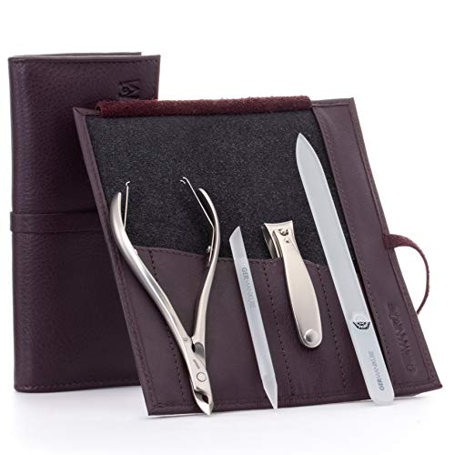 GERMANIKURE 4pc Manicure Set in Dark Purple Leather Case - FINOX Stainless Steel Tools Made in Germany, Glass Nail Care Supplies Made in Czech Republic – Professional Cuticle and Nail Care Kit