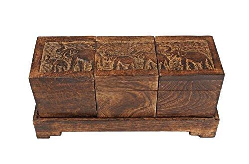 storeindya, Tea Boxes Wooden/Tea Box Organizer/Tea Box Holder/Tea Storage Box/Tea Chest Boxes/Wood Tea Box Handmade Wooden Teabags Holder Chest Organizer (Elephant Trio Collection)