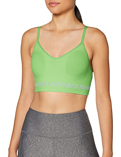 Under Armour Women's Seamless Low Long Bra, Summer Lime (162)/White, Small