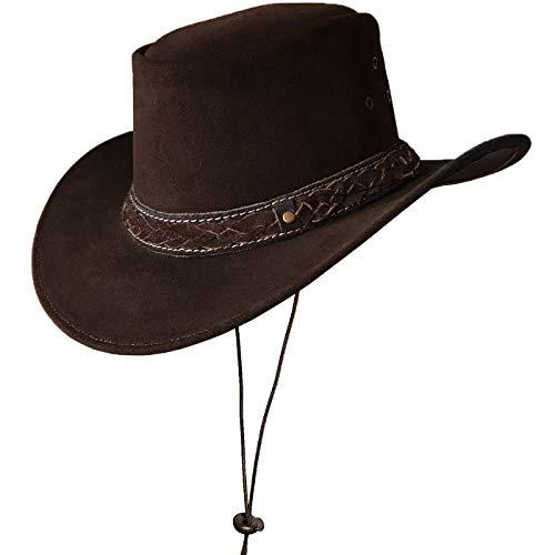 BRANDSLOCK Australischer Lederhut mit geflochtenem Band Original Cowboy Australischer Buschhut (M, Braun)
