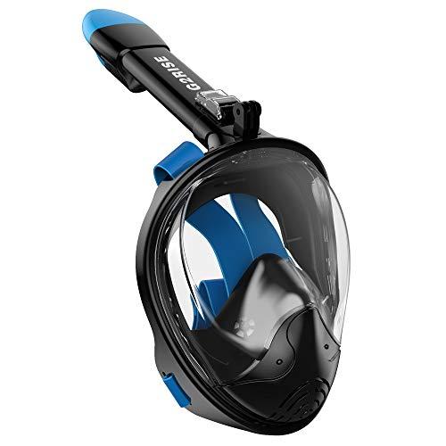 G2RISE SN01 Máscara de Buceo, Máscara de Snorkel de Cara Completa 180 Vista Panorámica con Montaje de Snorkel Desmontable, Diseño Antiniebla y Plegable para Adultos y Niños (Negro Azul, S/M)