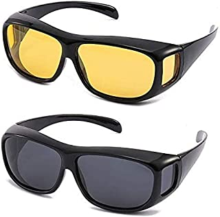 Shree Men's Rectangular Sunglasses (Black Frame, Black & Yellow Lens) (Medium) (Pack of 2)