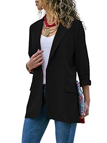 Blazer feminino aberto na frente, manga comprida, escritório, casual, traje de negócios fino, sobretudo, Preto, X-Large