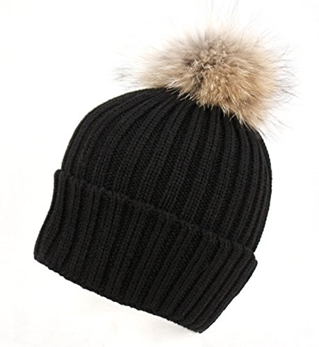 Womens Girls Knitted Fur Hat Real Large Raccoon Fur Pom Pom Beanie Hats (BLACK)