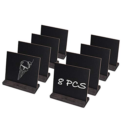 """Mini Chalkboard Signs for Table, TAKSDAI 5"""" × 6"""" Message Board Wood Base Vintage Style Tabletop Blackboard with Stand, Set of 8"""