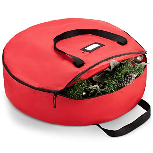 """ZOBER Premium Christmas Wreath Storage Bag 36"""" - Dual Zippered Storage Container & Durable Handles, Protect Artificial Wreaths - Holiday Xmas Bag Made of Tear Proof 600D Oxford - 5 Year Warranty"""
