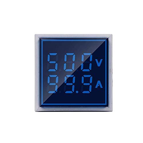 Robin Teper Volt+Amp Metar 0602 Digital Plastic Square Voltmeter Ammeter AC 50-500V 0-100A Ampere Voltage Current Meter Tester Dual LED Indicator Pilot Lamp Light 31 mm W/CT (Blue)