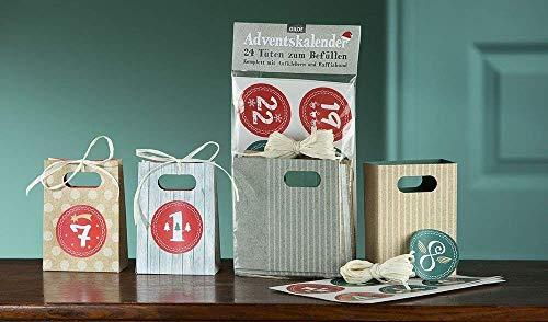 GILDE Adventskalender 24 Tüten zum Befüllen aus Papier, mit Aufkleber und Raffiaband