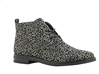 Sprox Faux Suede Leopard Pattern Ankle Lace-Up Boots with Pull Tab For Women