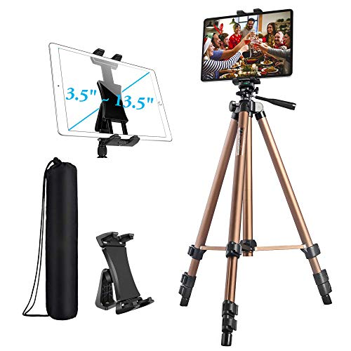 IPad Tripod, Tablet Tripod Stand 51 inch Adjustable Height Aluminum Mount Holder for iPad Pro 12.9 11 10.5, iPad Air, iPad Mini, Surface,Nexus,Galaxy Tab and 3.5 to 13.5in Phone Tablet - Champagne