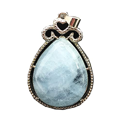 DUOVEKT - Colgante de Aguamarina Azul Natural para Mujer, 36 x 23 x 9 mm, con Piedras Preciosas Transparentes de Plata de Ley 925, joyería AAAAA