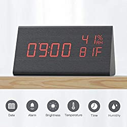 CACAGOO Digital Alarm Clock, with Wooden Electronic LED Time Display, 3 Alarm Settings 3 Brightness, Temperature Humidity Display Digital Alarm Clock for Kids Alarm Clock for Bedroom Bedside Office
