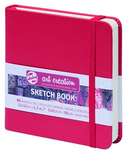 ターレンス アートクリエーションスケッチブック 絵を描く手帳 12×12cm 赤 厚み140g/㎡ 細目 中性 80枚綴じ T9314-204M