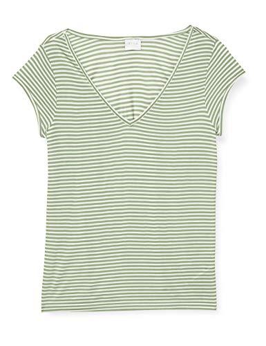 Vila NOS Damen VISCOOP TOP-NOOS T-Shirt, Loden Frost Stripes:Optical Snow, M