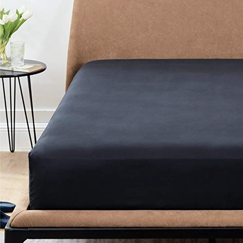 Bedsure Drap Housse 140x190 cm - Drap Housse Bonnet 30cm Matelas Épais,Drap Housse Microfibre Brossée avec Une Rebord Élastique,Noir