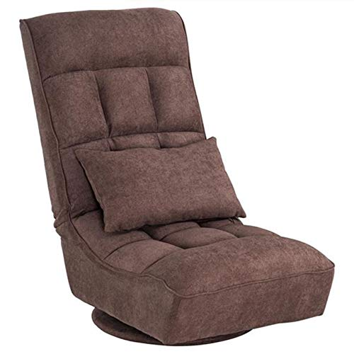 LORIEL Folding Lazy Sofa Lounger, Fabric Floor-Standing Backrest Adjustment Game Chair Single Sofa Lazy Chair Dark Brown 61 * 66 * 87.5Cm