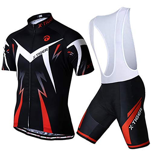 X-TIGER Men's Cycling Jersey Set,Biking Short Sleeve Set with 5D Gel Padded Shorts,Cycling Clothing Set for MTB Road Bike,Red Bib L