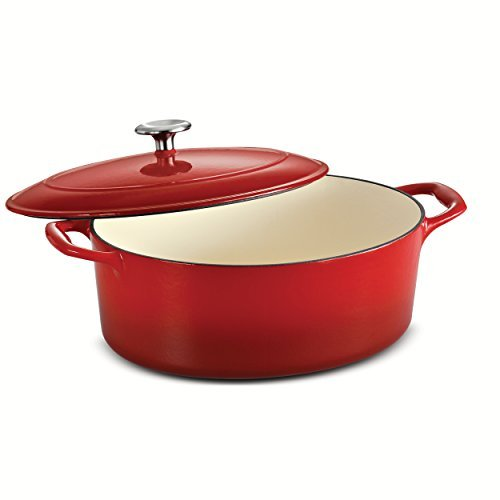 Tramontina Enameled Cast Iron Covered Oval Dutch Oven, 5.5-Quart, Gradated Red by Tramontina