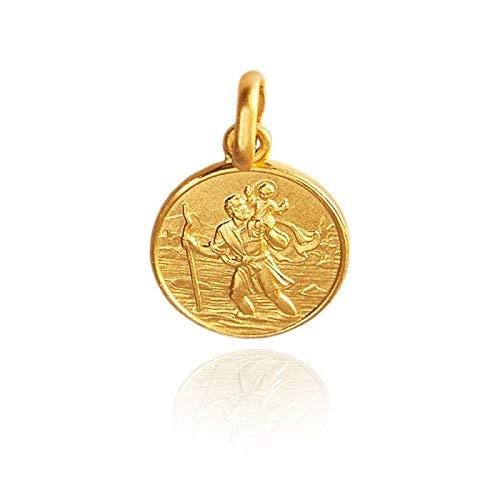 Heiliger Christophorus - Schutzpatron der Reisenden Goldmedaille Anhänger, 14 Karat /585 Gelbgold (14)