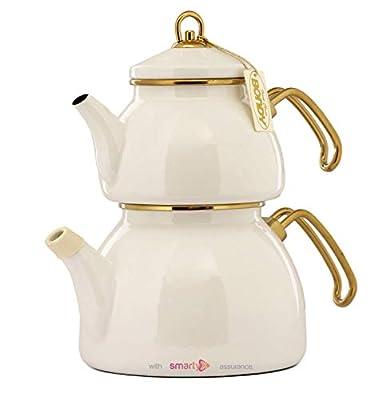 Vintage Enamel Turkish Teapot Samovar - Nostalgic Retro Samovar Kettle Special Design Midi Size Caydanlik 2 Lt (White)