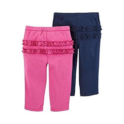 Carter's Baby Girls' 2-Pack Pants Set- Fushia/Blue, Newborn