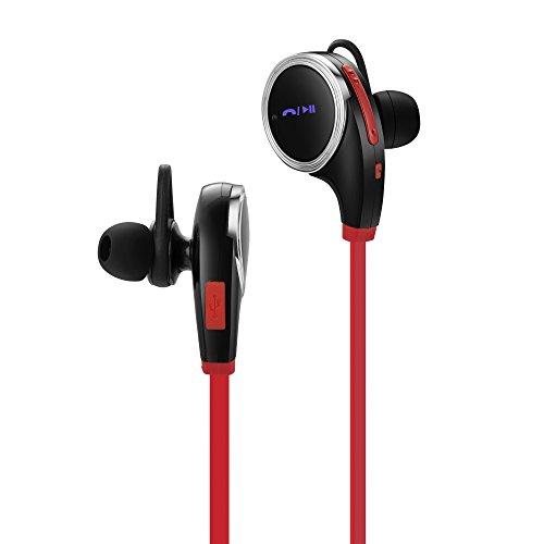 OKCS Bluetooth 4.1 Kopfhörer Headset, Samsung, Sony, HTC, LG, Huawei, Nokia, Xiaomi etc. In Ear Wireless Ohrhörer Stereo - in Rot/Silber