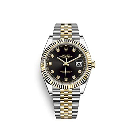 Fashion Shopping Rolex Datejust 41 Black Diamond Dial Stee and 18K Yellow Gold Jubilee Mens Watch 12633BKDJ