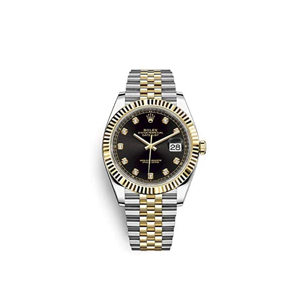Fashion Shopping Rolex Datejust 41 Black Diamond Dial Stee and 18K Yellow Gold Jubilee Mens Watch