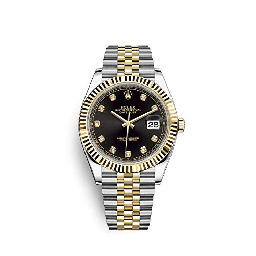 Rolex Datejust 41 Black Diamond Dial Stee and 18K Yellow Gold Jubilee Mens Watch 12633BKDJ