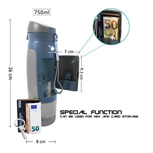 Botella Check Fred Sport 750 ML (Gris) con Correa y Compartimento de Almacenamiento