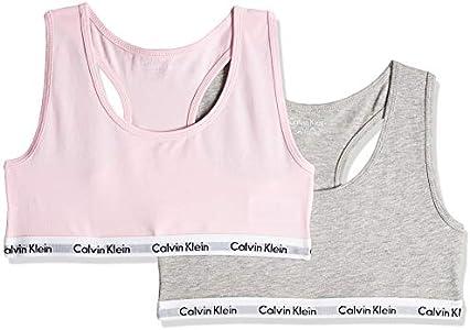 Calvin Klein 2pk Bralette Ropa Interior, Grey Htr/Unique 901, 8-10 años para Niñas