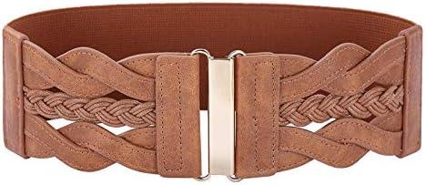 Women s High Waist Belt Stretchy Retro Wide Waist Cinch Belt Brown S product image