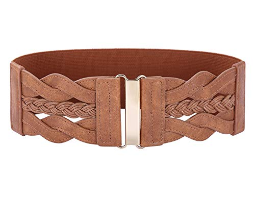Wide Belts for Women Dresses 1950s Retro Stretchy Waist Cinch Belt Brown S