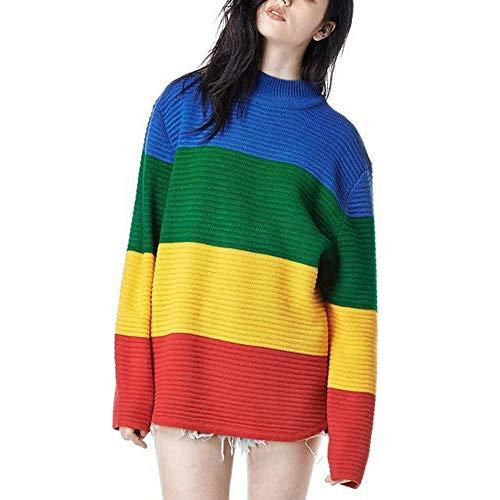KIYOUMI Womens lange mouw gestreepte regenboog gebreide trui, kleur gestreepte Jumper Shirt