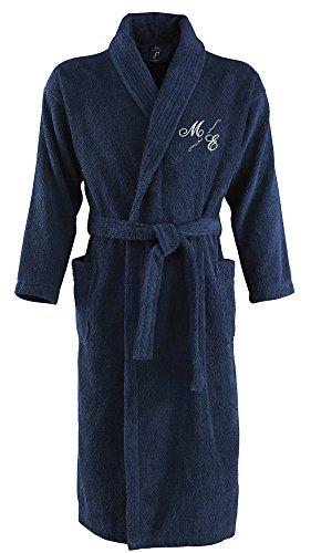 Bademantel aus 100% Baumwolle • Zwei aufgesetzte Seitentaschen • Passender Gürtel (Mona L/XL Blau)