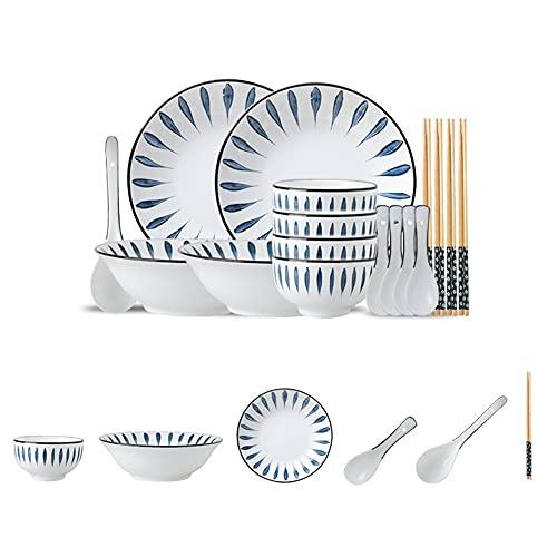 KJSWEI Sistema de vajillas de cerámica Bluegrass, Adecuado para 4 Personas, un Conjunto de 17 Piezas, vajilla Adecuada para cenas Familiares, vajillas Modernas, Estilo japonés