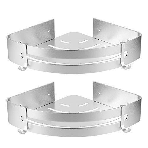 Hansiro Lot de 2 étagères de douche d'angle sans perçage   Étagère de douche avec crochets en aluminium inoxydable pour salle de bain  