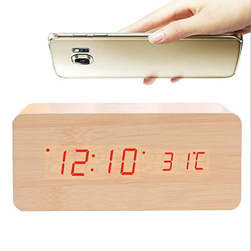 ALLOMN Despertador, Reloj de Control de Voz de Escritorio Digital de Madera, con Carga Inalámbrica, Brillo de 3 Niveles, Pantalla de Hora/Fecha/Humedad/Temperatura 3 Alarmas (Amarillo)