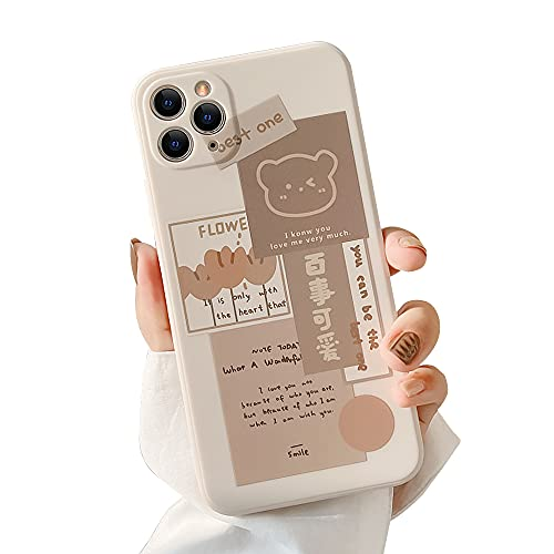Ownest Compatible with iPhone 12 Pro Max Case with Cute Bear 3D Cartoon Pattern for Women Girls Soft Silicone Protective for iPhone 12 Pro Max-Brown