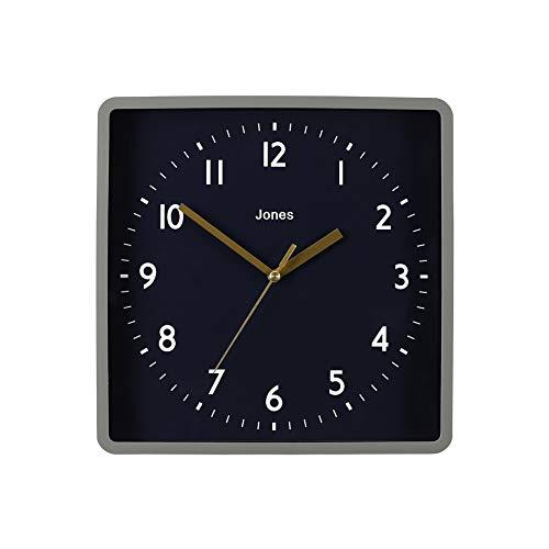 JONES CLOCKS® Shack quadratische Wanduhr, Retro-Stil, Farbiger Rahmen, farbiges Zifferblatt, farbige Zeiger, 25 cm (Dunkelblau und Gold)