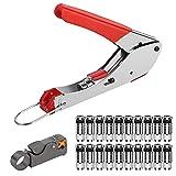Bild des Produktes 'Cocoarm Kompressionszange F Stecker Set SAT Kabel Stecker Presse Werkzeug Koax-Kabel Stripper RG58 RG59 RG6 Crimper Koax'