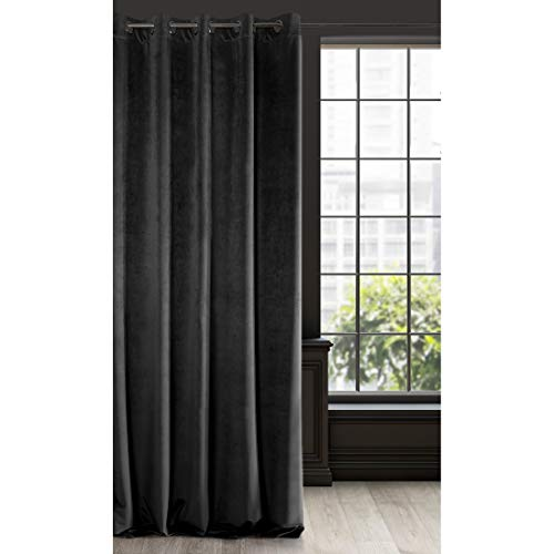 Eurofirany Velvet-Cortina (Terciopelo), Color Negro 10 Ojales Suaves Elegantes, Dormitorio, salón, Tela, 140x250cm